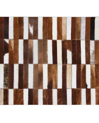 Luxusný kožený koberec hnedá/biela patchwork 171x240 KOŽA TYP 5