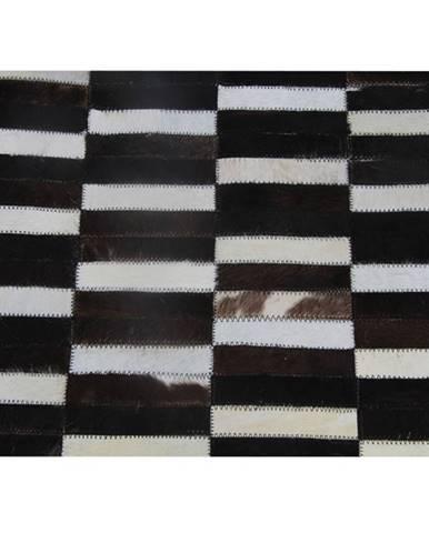 Luxusný kožený koberec hnedá/čierna/biela patchwork 201x300 KOŽA TYP 6