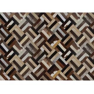 Luxusný kožený koberec hnedá/čierna/béžová patchwork 200x300  KOŽA TYP 2