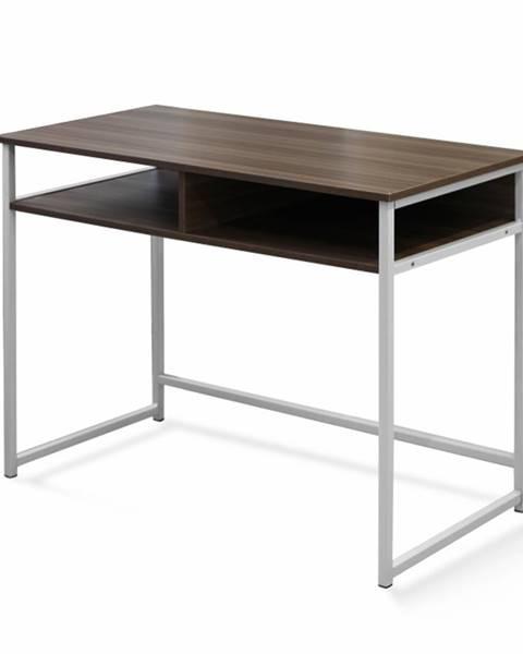 Tempo Kondela PC stôl orech/biela HARALD poškodený tovar