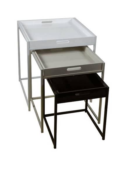 Kondela Set 3 príručných stolíkov biela/sivá/čierna BARTON