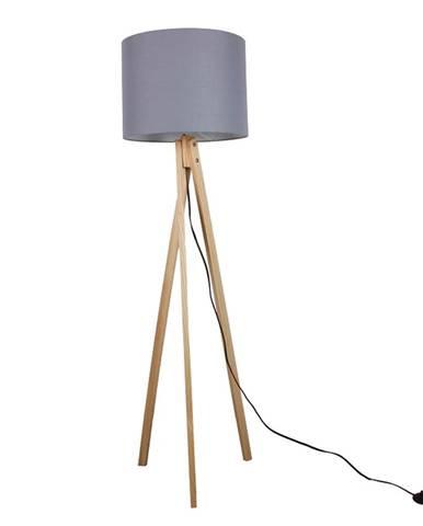 Stojacia lampa sivá/prírodné drevo LILA TYP 7 LS2062