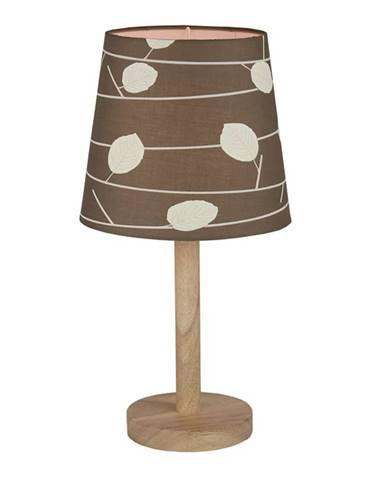 Stolná lampa drevo/látka vzor listy QENNY TYP 6 LT6026