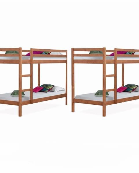 Tempo Kondela 2 kusy poschodová posteľ borovicové drevo svetlohnedá VERSO