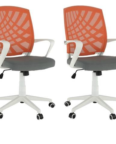 2 kusy kancelárske kreslo oranžová/sivá/biela VIDAL