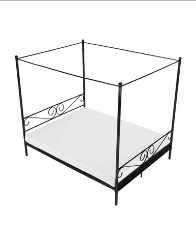 Kovová posteľ s nebesami čierna 160x200 ABENA