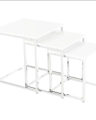 Set 3 konferenčných stolíkov biela extra vysoký lesk ENISOL TYP 3