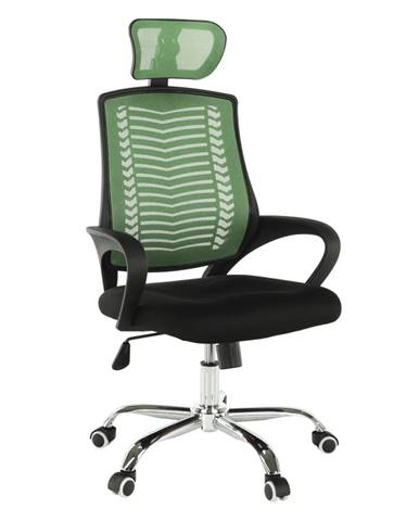 Kancelárske kreslo zelená/čierna/chróm IMELA TYP 1