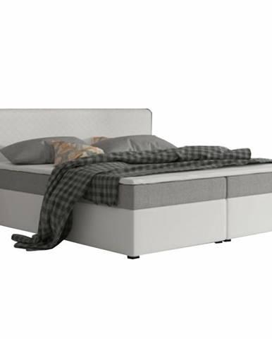 Komfortná posteľ sivá látka/biela ekokoža 160x200 NOVARA MEGAKOMFORT