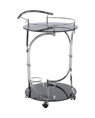 Servírovací stolík čierne sklo/chróm VESNA