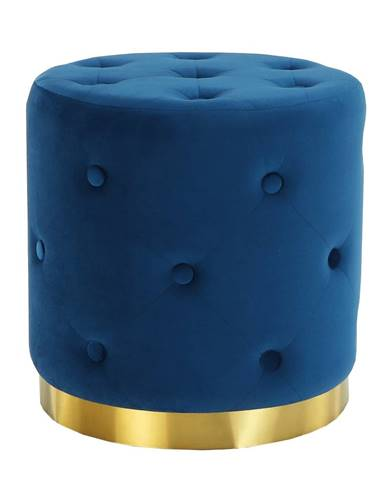 Taburet kráľovská modrá Velvet látka/zlatý náter LEONID
