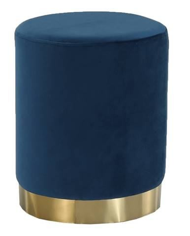 Taburet modrá Velvet látka/gold chróm-zlatá ALAZ