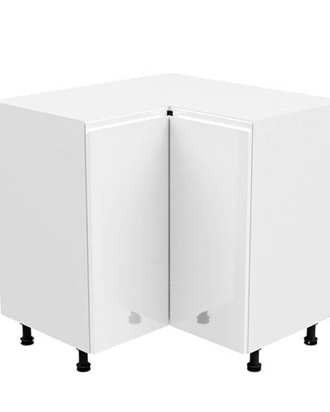 Tempo Kondela Spodná rohová skrinka biela/biela extra vysoký lesk AURORA D90N
