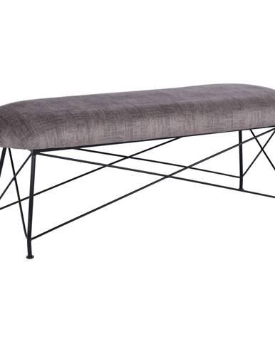 Dizajnová lavica hnedá látka/čierny kov RIVOLA
