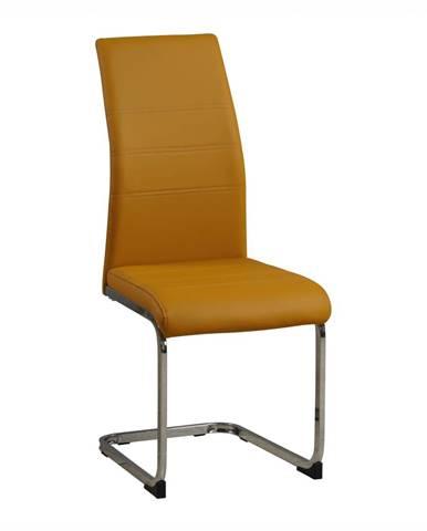 Jedálenská stolička horčicová/chróm VATENA