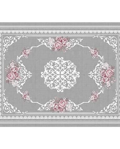 Koberec sivá/kvety 80x150 SEDEF TYP 2