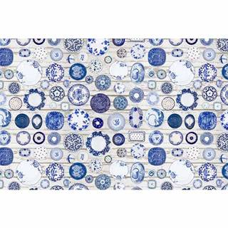 Koberec modrá/krémová 160x230 PARLIN