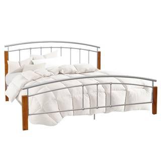 Manželská posteľ drevo jelša/strieborný kov 160x200 MIRELA