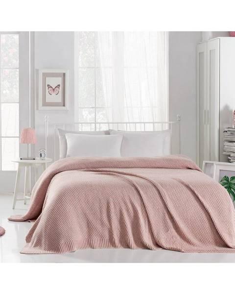 Homemania Púdrovoružová prikrývka cez posteľ Silvi, 220 x 240 cm