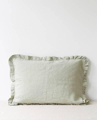 Svetlozelená ľanová obliečka na vankúš s riaseným lemom Linen Tales, 50 x 60 cm