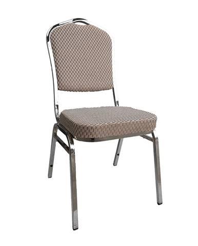 Stohovateľná stolička béžová/vzor/chróm ZINA 3 NEW