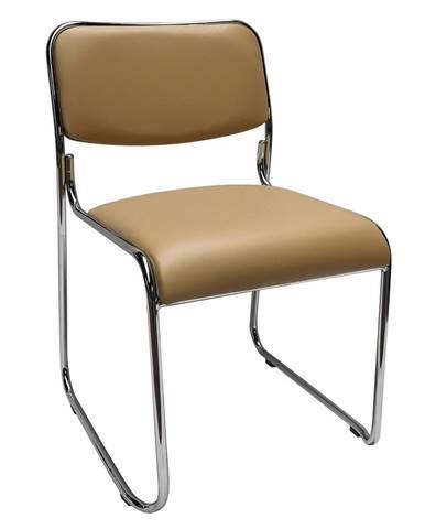 Zasadacia stolička hnedá ekokoža BULUT