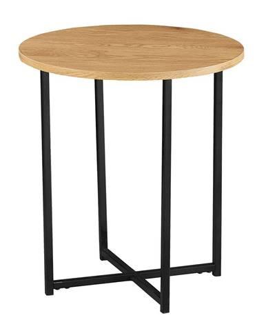 Príručný stolík  dub/čierny kov IMSAR