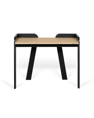 Čierny pracovný stôl s doskou v dekore duba TemaHome