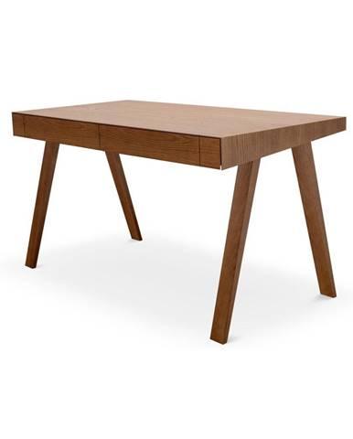 Hnedý písací stôl s nohami z jaseňového dreva EMKO 4.9, 140 x 70 cm