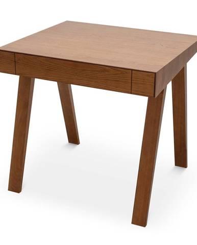 Hnedý stôl s nohami z jaseňového dreva EMKO 4.9, 80 x 70 cm