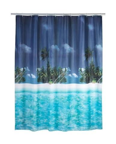 Modrý sprchový záves Wenko Dreamy Beach, 180×200 cm