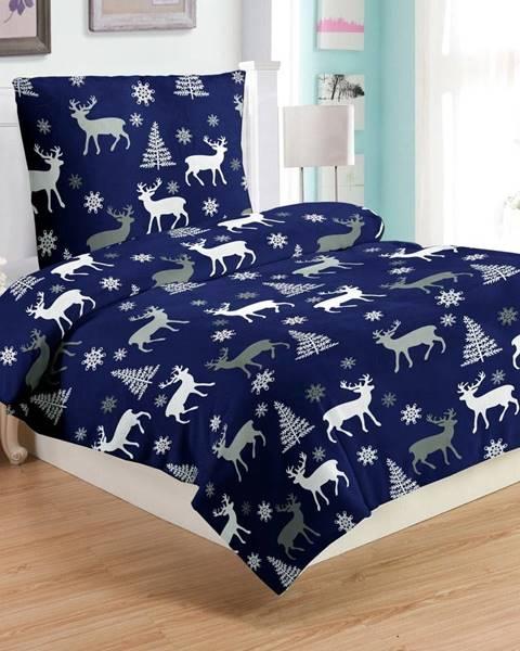 My House Modré mikroplyšové obliečky My HoDeer, 140 x 200 cm