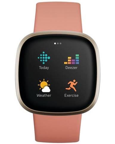 Inteligentné hodinky Fitbit Versa 3 - Pink Clay/Soft Gold Aluminum