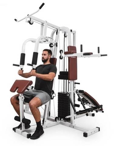 KLARFIT Ultimate Gym 9000, fitness stanica, 7 staníc, do 150 kg, QR oceľ, biela