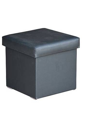 Taburet GABI čierna textilná koža