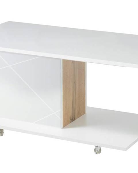 Sconto Konferenčný stolík STORM biela/dub divoký