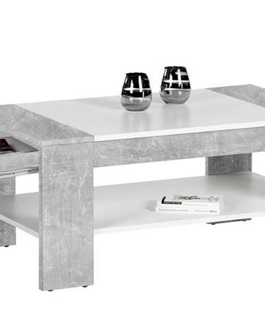 Konferenčný stolík FINLEY PLUS beton/biela