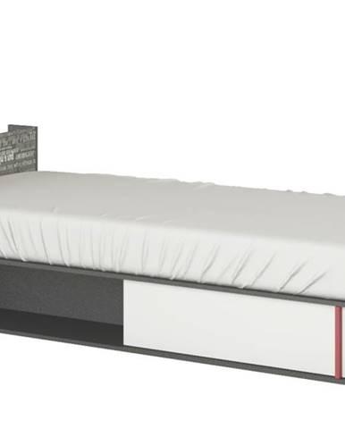 Posteľ PHILOSOPHY biela/grafit, ľavá, 90x200 cm