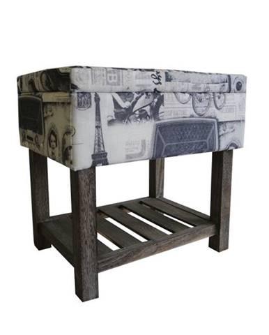 Úložný taburet PARIS 002 krémová s potlačou/hnedá