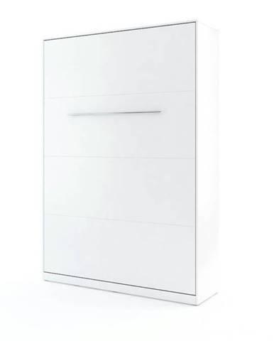 Výklopná posteľ CONCEPT PRO CP-01 biela matná, 140x200 cm, vertikálna