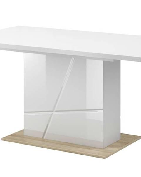 Sconto Jedálenský stôl FUTURA 10 biela vysoký lesk/dub riviera