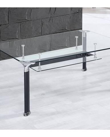 Konferenčný stolík ALBERTO číre sklo/čierna