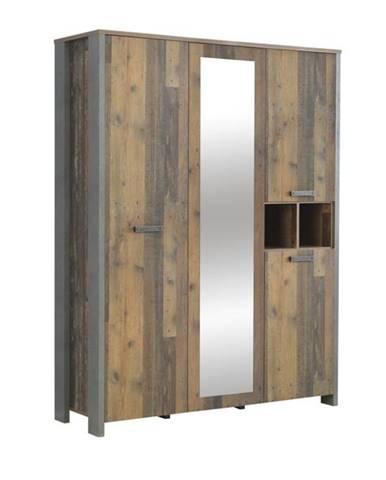 Šatníková skriňa CLIF staré drevo/betón