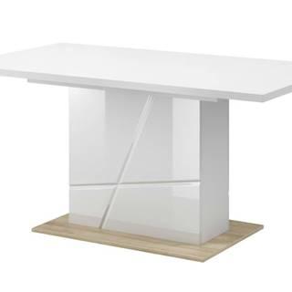 Jedálenský stôl FUTURA 10 biela vysoký lesk/dub riviera