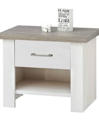 Nočný stolík PARVATI pínia biela/dub truffel