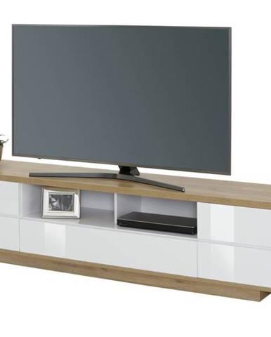 TV stolík DORIAN dub riviera/biela lesklá