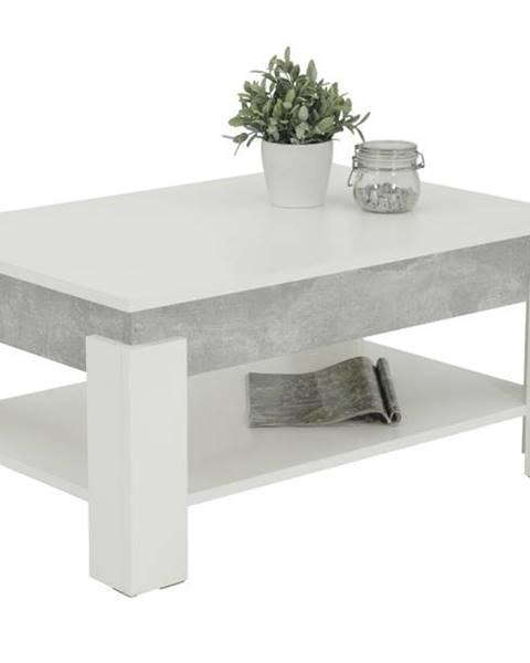 Sconto Konferenčný stolík THEO betón/biela