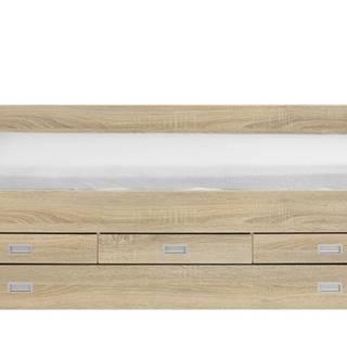 Posteľ s výsuvným lôžkom KLASA dub sonoma, 120x200 cm