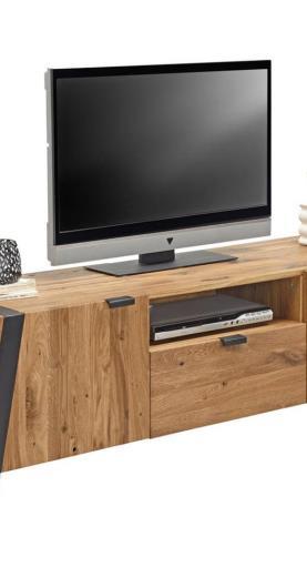 Landscape TV DIEL, divý dub, čierna, farby dubu, 172,8/52/47 cm - čierna, farby dubu